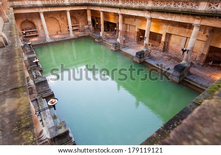 The Great Bath at the Roman Baths in Bath, UK - stock photo