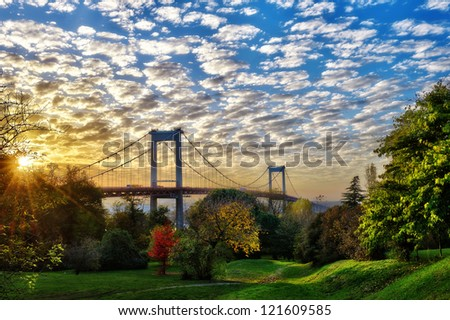 the great bridge of Aquitaine Bordeaux France - stock photo