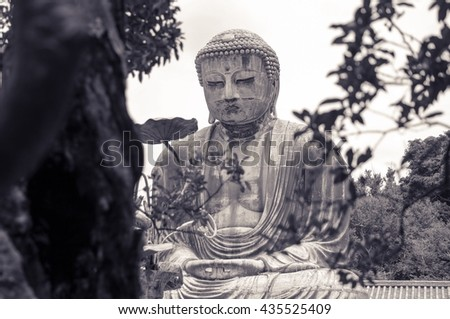 The Great Buddha of Kamakura (Kamakura Daibutsu), a bronze statue of Amida Buddha in Kotokuin Temple, Kamakura, Kanagawa, Japan - stock photo