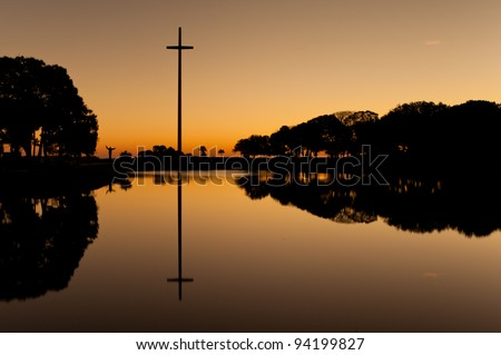 The Great Cross at the Mission of Nombre de Dios in St. Augustine, Florida - stock photo