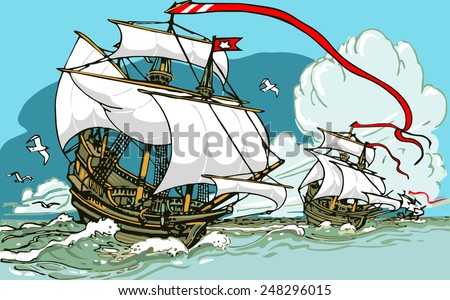The Great Discoveries Three Galleons Sailing. Old Sailing Ship Columbus Day Insight Playbill Poster. Columbus Day Background Illustration. - stock photo