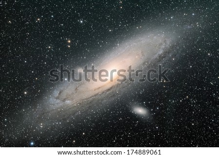 The Great galaxy in Andromeda, also known as Messier 31. - stock photo