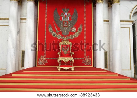 The great imperial throne in winter palace, Saint Petersburg, Russia - stock photo