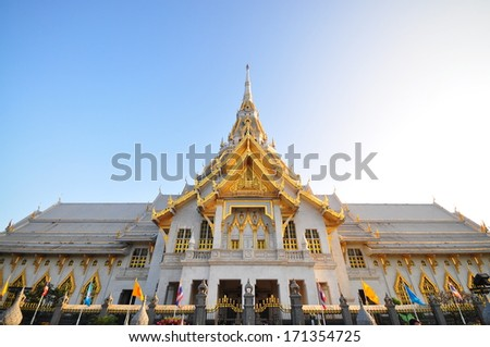 The great marble church, Wat Sothorn, Chachoengsao Thailand - stock photo