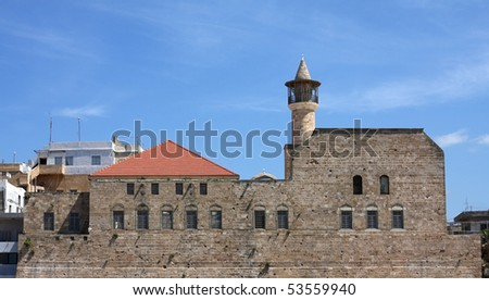The Great Mosque in Sidon, originally the the Church of St. John of the Hospitalers (Lebanon) - stock photo