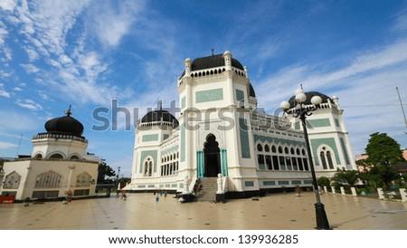 The Great Mosque (Masjid Raya) in Medan, Indonesia - stock photo