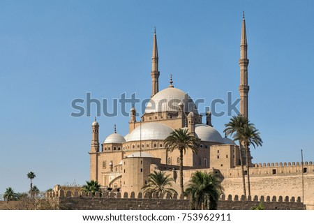 The great Mosque of Muhammad Ali Pasha (Alabaster Mosque), situated in the Citadel of Cairo, Egypt, commissioned by Muhammad Ali Pasha 1830 - 1848, one of the landmarks of Cairo