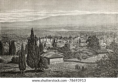 The Great Mosque (Ulu Cami) in Bursa, view  from the slopes of Uludag, the Sublime Mountain, (once Misian Olympus). Created by Gaiaud, published on Le Tour du Monde, Paris, 1864 - stock photo