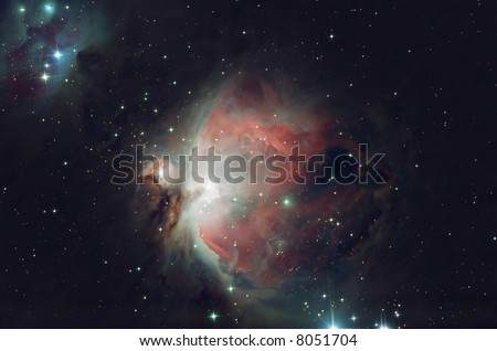 The great Orion nebula decorating the heart of constellation Orion - stock photo