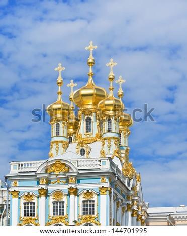 The Great  Palace of Tsarskoye Selo (the Catherine Palace) Chapel (Church of the Resurrection). Pushkin near St.Petersburg, Russia - stock photo