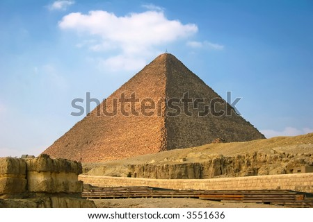 The great pyramid of cairo egypt with blue skies - stock photo