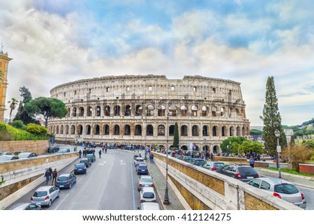 The Great Roman Colosseum (Coliseum, Colosseo) also known as the Flavian Amphitheatre.This mega structure is one of the wonders of the world.Panoramic view on the famous landmark. Rome. Italy. Europe. - stock photo