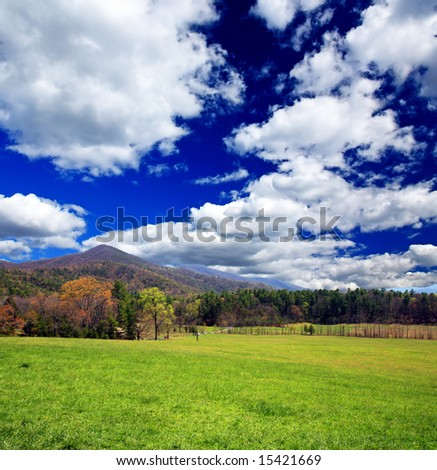 The Great Smoky Mountain National Park in the morning - stock photo