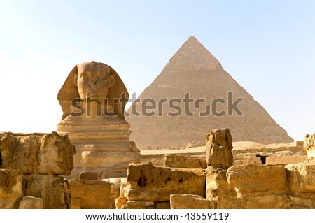 the Great Sphinx and Khafre pyramid of Giza, Egypt - stock photo