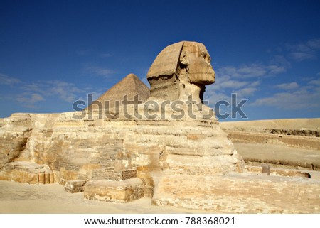 The Great Sphinx of Giza, an ancient Egyptian statue located in the Pyramid Complex near Cairo, Egypt.