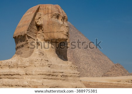 The Great Sphinx of Giza, Egypt, famous ancient statue - stock photo