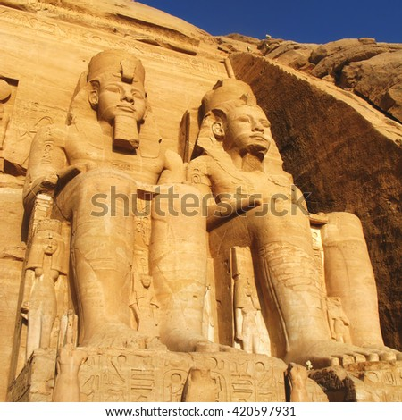 The Great Temple at Abu Simbel, Egypt. - stock photo