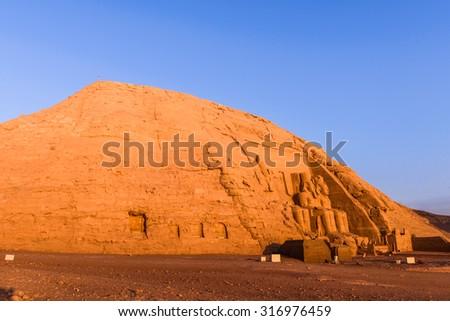 The Great Temple of Ramesses II, Abu Simbel, Egypt - stock photo