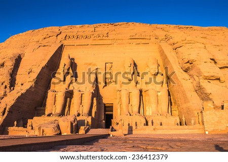 The Great Temple of Ramesses II on the sunrise, Abu Simbel, Egypt - stock photo