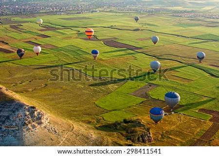 The great tourist attraction of Cappadocia - balloon flight, Goreme, Cappadocia, Turkey - stock photo