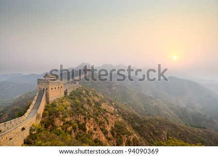 the great wall at sunrise - stock photo