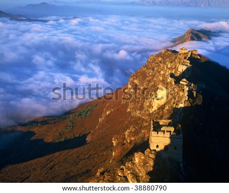 The Great Wall in a sea of cloud. - stock photo
