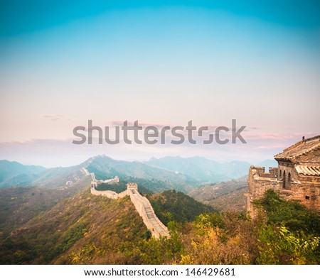 the great wall in beautiful dusk,China.