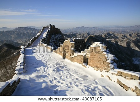 The Great Wall in witer with snow covered. - stock photo