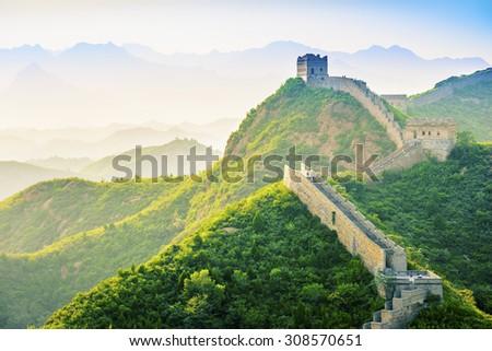 The Great Wall of China at Jinshanling. - stock photo