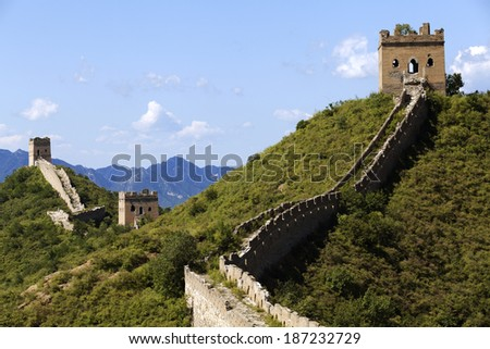 The Great Wall of China in Summer with beautiful sky