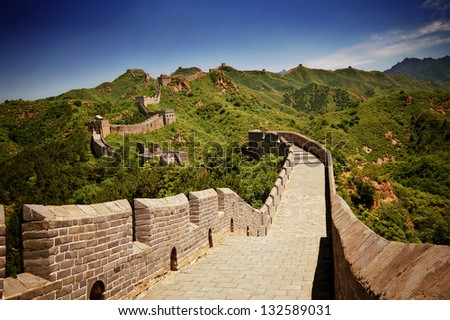 The Great Wall of China near Jinshanling on a sunny day - stock photo