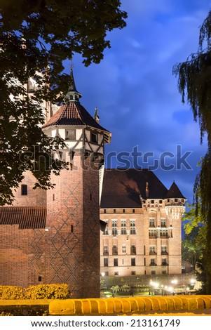 The greatest in Europe Gothic Castle. Malbork in Poland. World Heritage List UNESCO.  - stock photo