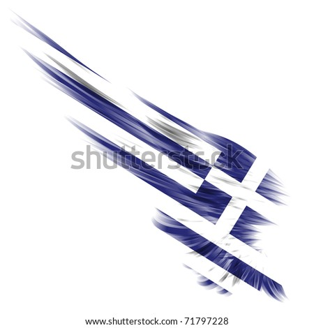 The Greece flag on Abstract wing and white background - stock photo