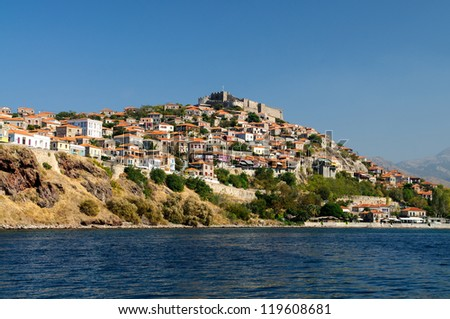 The Greek town of Molyvos on the Island of Lesvos built on a hillside - stock photo