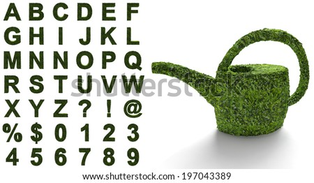 The green alphabet with a structure of leaves and grasses isolated on a white background - stock photo