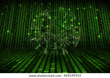 The green alphanumeric code background with lighting of circle.  This picture suitable for business and technology use. - stock photo