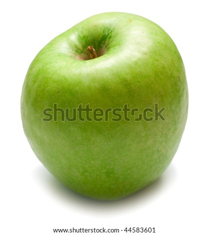 The green apple on white background. Isolation