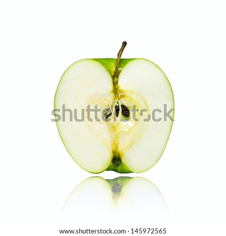 The green apple peel. Isolated on a white background.