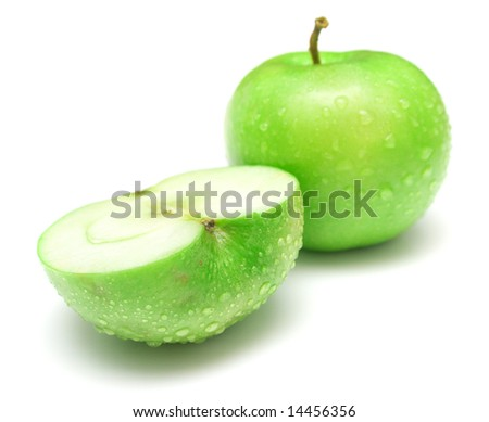 The green apples on white background. Shallow DOF. Isolation