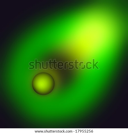 The green ball engage in deep space. An abstract illustration. - stock photo