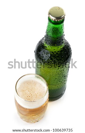 The green bottle of beer and a glass of beer top view  on white background - stock photo