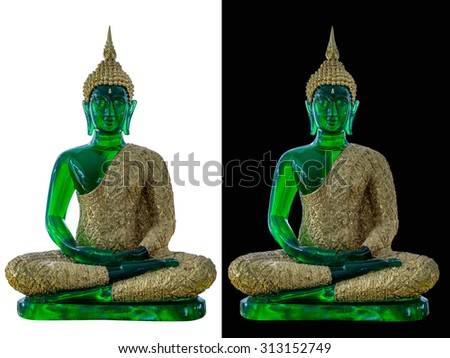 The green buddha sculpture as the original at emerald buddha temple grand palace