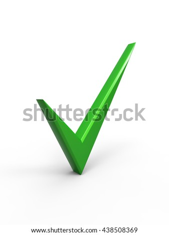The green check mark. 3d render on white background