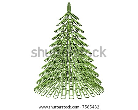 The green Christmas tree maiden with office fastener - stock photo