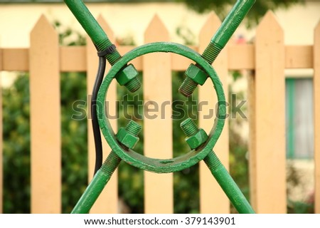 The green color metal fence scene represent the fence concept related idea.