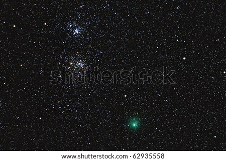 The green comet 103/P Hartley near the double cluster in the constellation of Perseus.