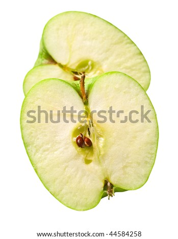 The green cuted apple on white background. Isolation