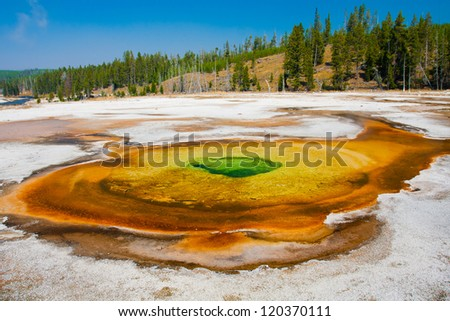 The Green Diamond Pool in Yellowstone National Park - stock photo