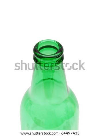 the green eco bottle isolated white - stock photo