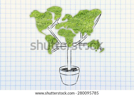 the green economy: plant with the shape of a world map and grass texture - stock photo